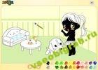 Играть в игру  Раскрась девочку и щенка
